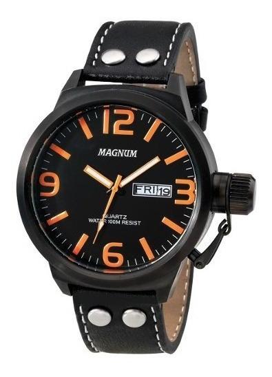Relógio Magnum Military Masculino Couro Ma31524l Novo
