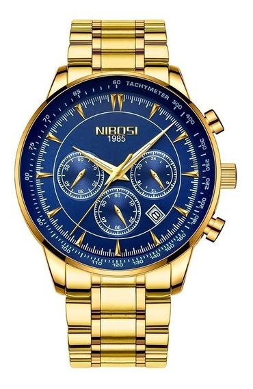 Relógio Luxo Dourado Azul Nibosi Original Funcional + Caixa