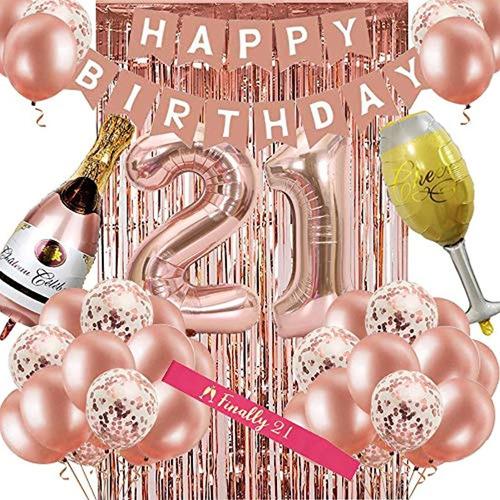 Decoraciones De 21 Cumpleaños Para Mujeres, Oro Rosa 21