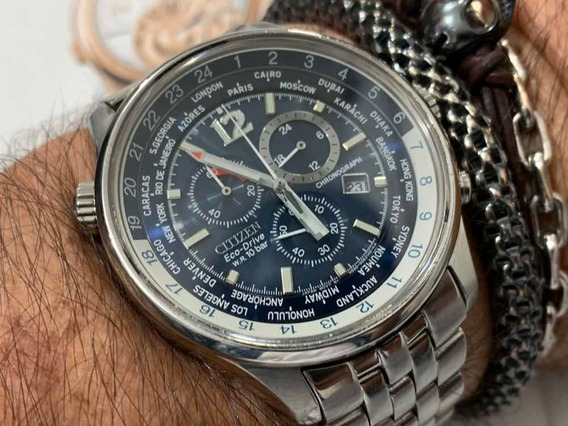 Citizen Hora Mundial At0360-50l Eco-drive Chronograph Wr100