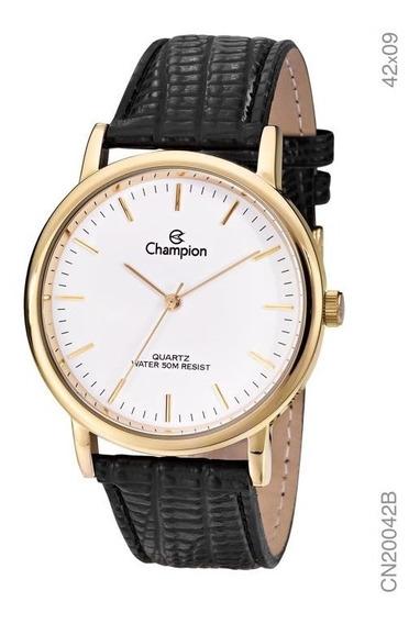 Relógio Champion Dourado Masculino Cn20042b Pulseira Couro