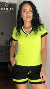 1 Conjunto Blusa Verde + Short Preto | Varda Clothing