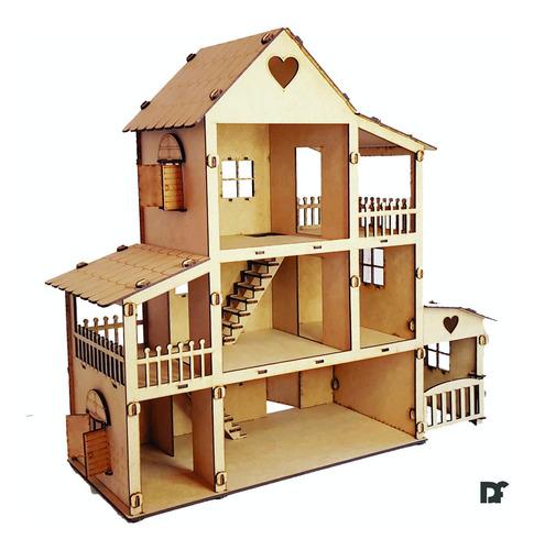 Casa Muñecas Lol Fibrofacil + 40 Muebles Economica Facil