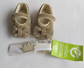 7c5765a5d2 Sapato No. 16 Bebê Dourado Strass + Faixa
