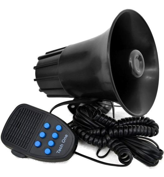 Sirene Automotiva 7 Tons Techone Microfone Policia Bombeiro