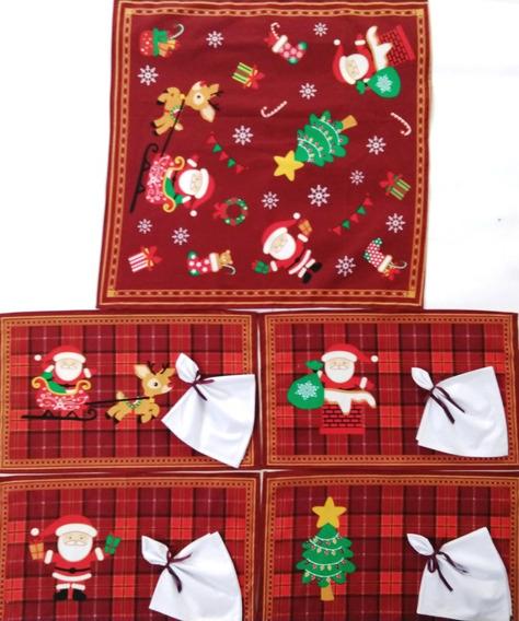 Kit Natal 9 Peças Com 4 Toalhas Americanas 4 Guardanapos Algodão E Mais 1 Centro De Mesa Lindas Para Sua Festa