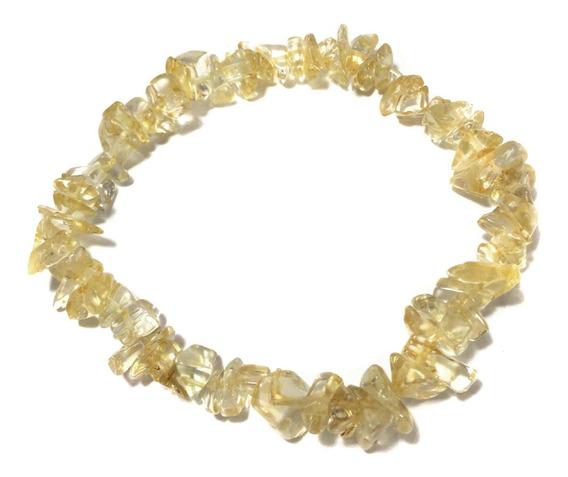 Pulseira Cascalho Cristal Pedra Natural Citrino Elástico