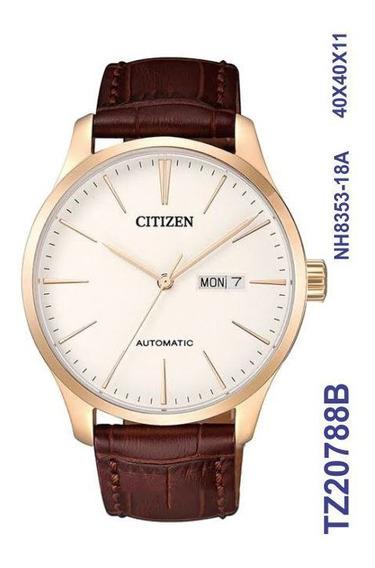 Relogio Masculino Citizen Automatico Couro Tz20788b