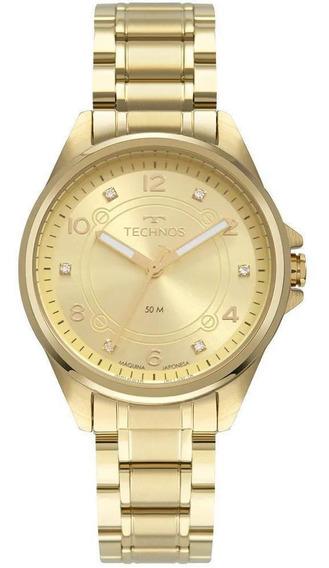 Relógio Feminino Dourado Technos Mostrador Com Pedras