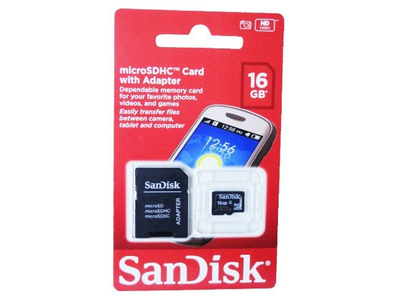 Cartão De Memória 16gb Sandisk Micro Com Adaptador Sdhc