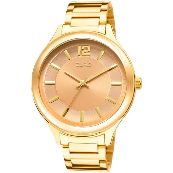 Relógio Euro Feminino Dourado E Caramelo Eu2035lqy/4m