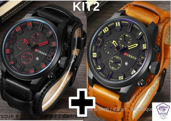 Relógios Curren 8225 Masculino De Luxo Preto E Marron Kit2