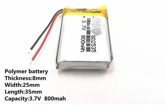 Bateria 3,7v Gps 7mm X 25mm X 35mm Com 800 Mah 2 Fios