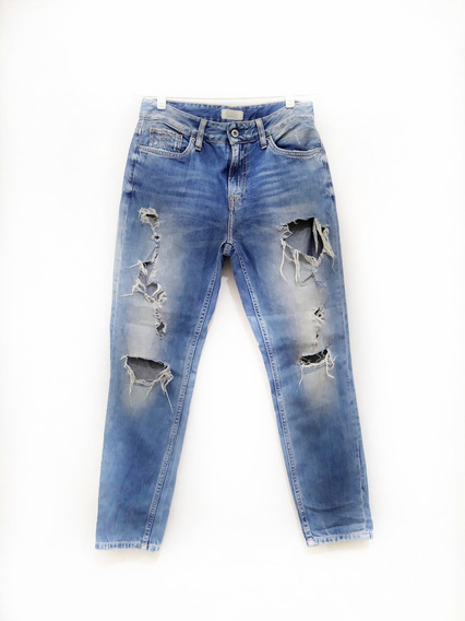 Pantalones Denim Rotos Blue Jeans Dama
