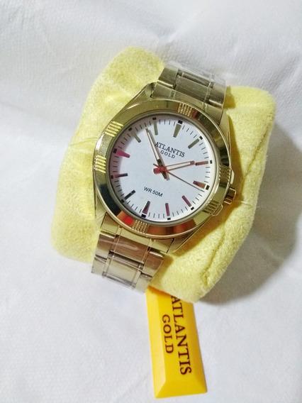 Relógio Masculino Dourado Atlantis G3161 Original