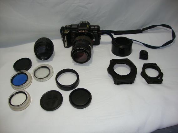 Camera Minolta 7000 + Lente 50mm + Lente 200 E Acessórios