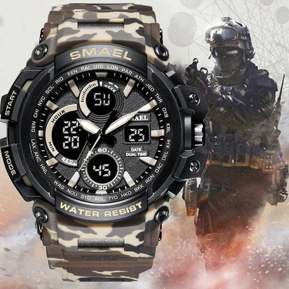 Relógio Smael Camuflado Militar 1708 Tan À Prova D
