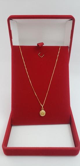 Corrente Ouro 18k Veneziana 50cm Pingente Sol Frente E Verso