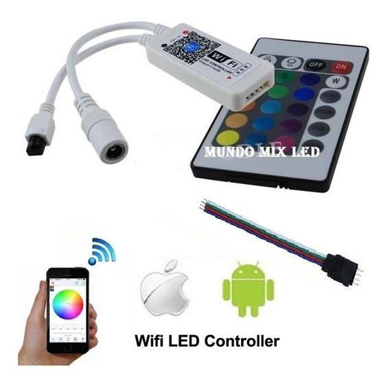 Controladora + Controle Rgb Wifi Android Ios P/ Google Home / Alexa Led Refletor P/ Piscina Rgb + Conector Plug Rgb