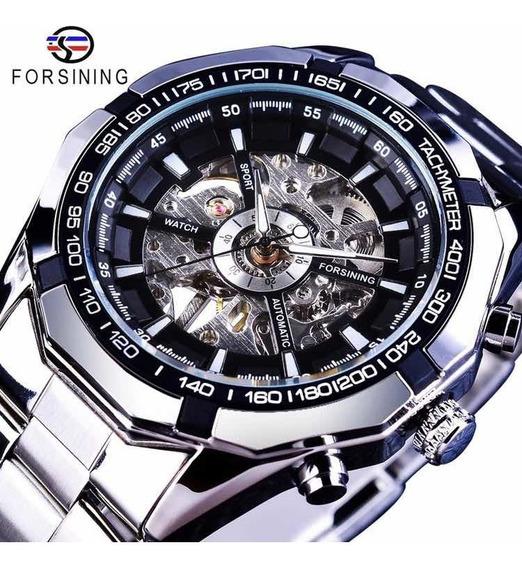 Relógio Forsining A Corda Em Aço Inoxidável Importado Lindo