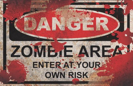 Quadro Decoração Halloween Zombie Zone Terror Brincando 5073