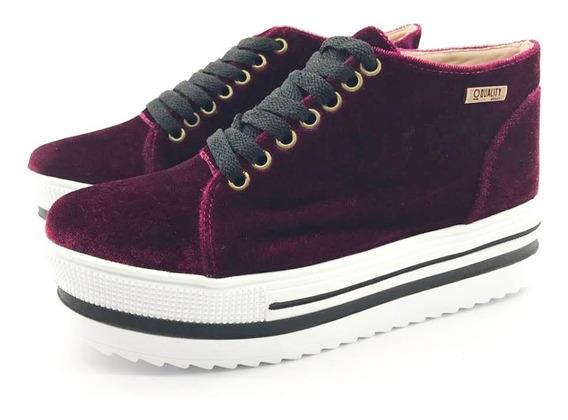 Tênis Flatform Quality Shoes 006 Veludo Bordô Sola Alta Com