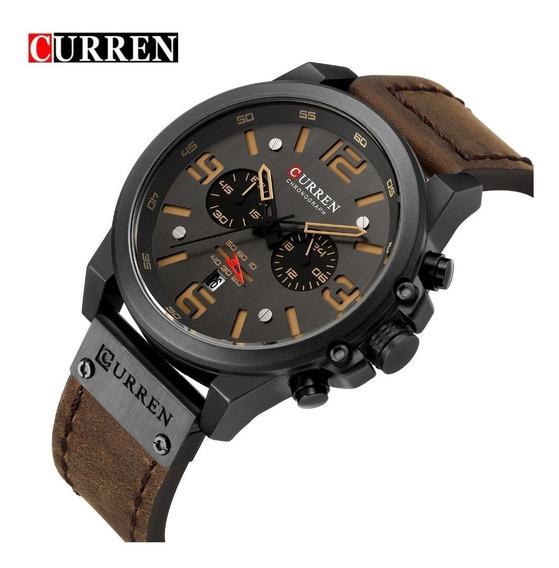 Relógio Masculino Curren 8314 Esporte Luxo Pulseira Couro