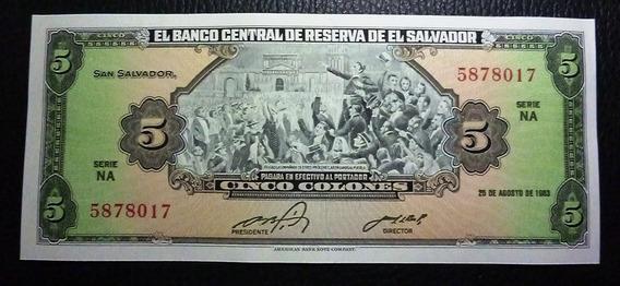 El Salvador Billete 5 Colones 1983 Unc Sin Circular Pick134a