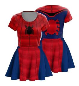 Vestido Infantil Aranha De Ferro Fantasia Vingadores Heróis