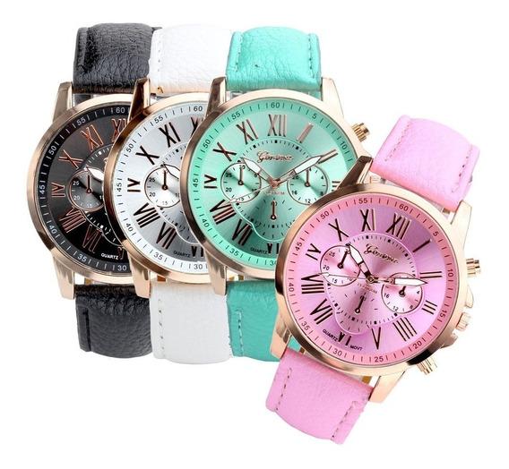 Relógio Feminino Geneva Kit 5 Pçs + Grátis 5 Pulseira Metal