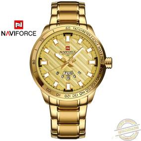 Relógio Masculino Naviforce Aço Inoxidável Luxuoso Dourado