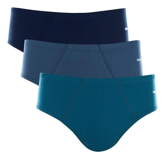 Kit 3 Cuecas Slip Mash Azul Petróleo/jeans/marinho 58486