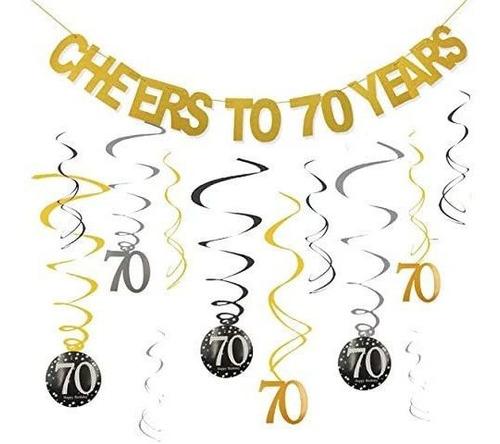 Imagen 1 de 6 de Kit De Decoracion De Fiesta De 70 Cumpleaños   Saludos A 7