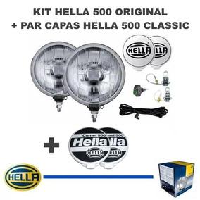 Kit Farol Milha Hella 500 Original + Par Capas Classic