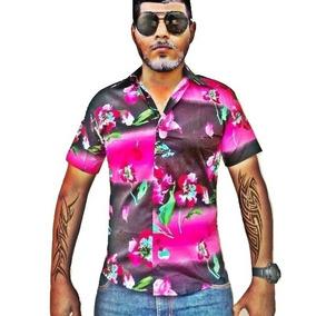 Camisa Masculina Floral Manga Curta Em Algodão E Elastano