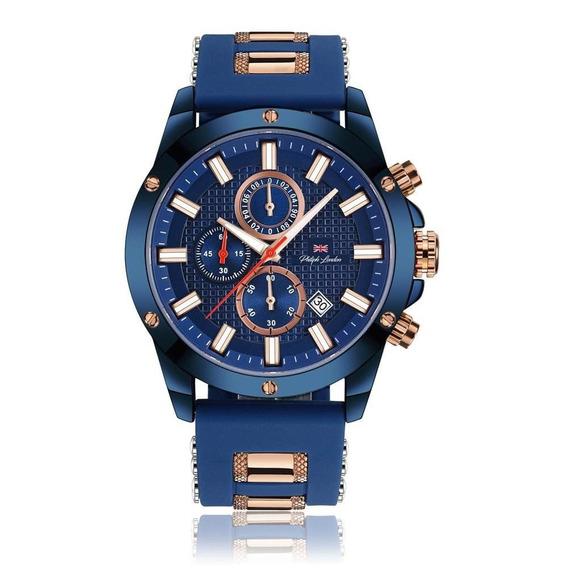 Relógio Philiph London Masculino Ref: Pl80070612m Az Azul
