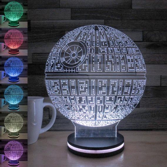 Lampara Led 3d Carga Tel Celular Star Wars Death Star