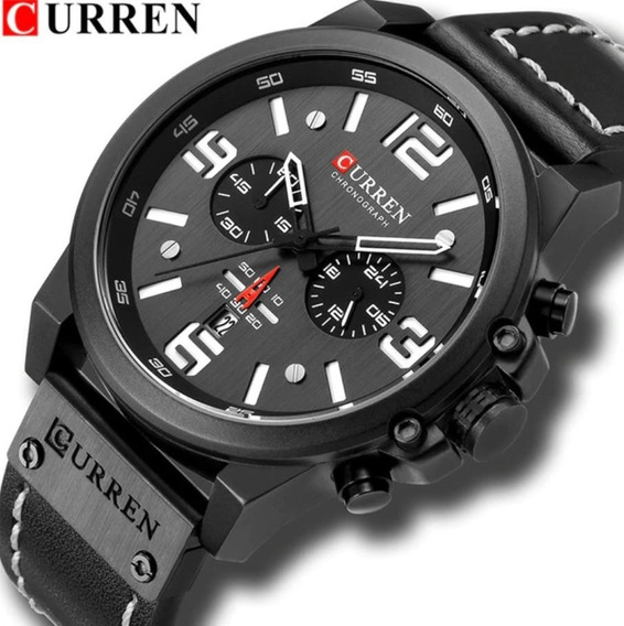 Relógio Masculino Importado Curren Couro Pronta Entrega
