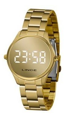 Relógio Lince Led Dourado Mdg4617l Bxkx
