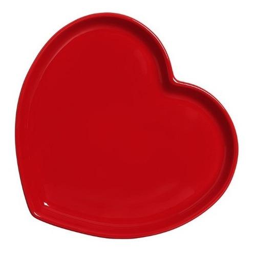 Prato Coração Vermelho De Cerâmica Grande
