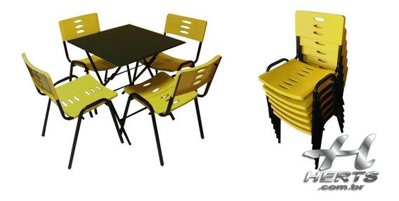 Jogo De Mesa E Cadeira Fixa Empilhável - 4 Cadeiras 70x70