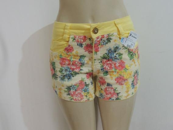 Shorts Consciencia Jeans Amarelo Paete Floral Tamanho 38 40