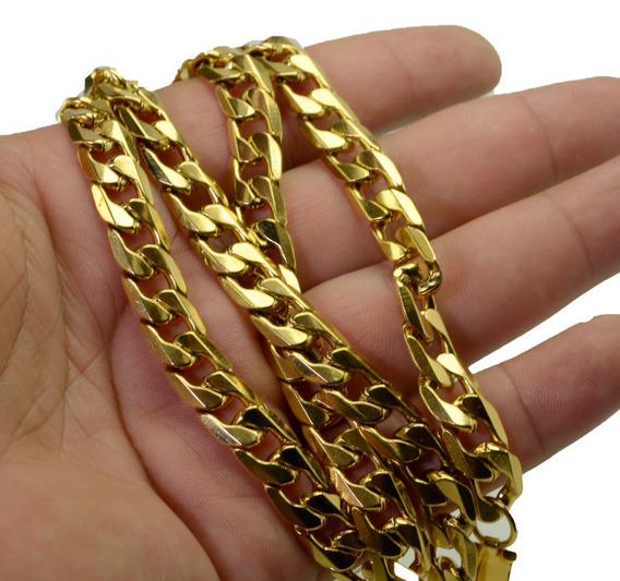 Corrente Cordão Grumet 70cm E 8mm Banhado A Ouro Fecho Gavet