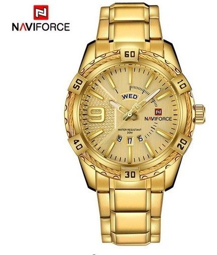 Reloj Hombre Naviforce Dorado Militar 100% Original + Caja