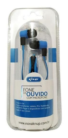 Fone De Ouvido Com Microfone Knup Kp-388 Azul Verde Vermelho