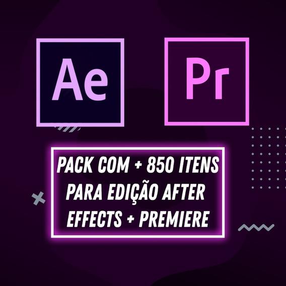 Pack Com + 850 Itens Para Edição After Effects + Premiere