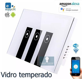 Interruptor Touch Geekbes Wifi 3 Canais Vidro Temperado