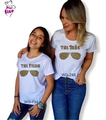 T Shirt  Feminina Tal Mãe Tal Filha Óculos Onça Kit 2 Peças