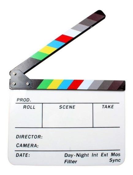 Claquete De Cinema Para Filmagens Vídeos Cenas Colorida Rgb