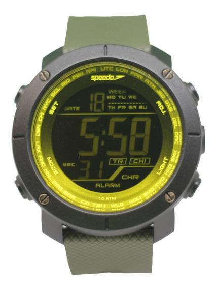Relógio Masculino Digital Verde Militar E Preto Speedo + Nf